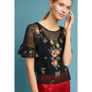 Anthro Maeve Cadiz Mesh Embroidered Floral Top XS